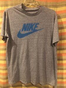 Vintage 80s NIKE Swoosh Logo Gray Rayon Tri Blend T-Shirt Single Stitch XL- XXL