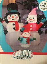 Gemmy 4 ft Snow Man Family Lighted Airblown Snowman Inflatable Christmas Lights