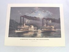 4 Currier & Ives Steamboat Prints Midnight Race Columbia Mayflower Drew St John