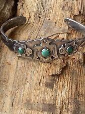 Cuff Bangle Bracelet Native American Vintage Signed Navajo Sterling Silver