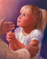 """Catholic print picture  -  CHILD PRAYING -   8"""" x 10"""" ready to be framed"""