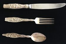 3piece setting Whiting Lily of the Valley Sterling Silver Knife Fork Spoon 147gr