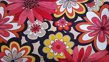 3 housses de coussin TISSU fleurs orange vintage déco salon chambre 58,5 x 36 cm