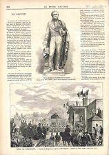 Statue de Chasseloup-Laubat Bronze de Lequien à Marennes /Dunkerque GRAVURE 1874