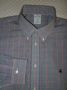 BROOKS BROTHERS REGENT Sport/Dress Shirt XL 17 1/2 x 36/7 Non-Iron Cotton Navy