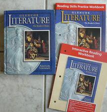 Glencoe Literature, American Lit text & 2 NEW workbooks,gr.11/11th
