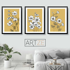 Set of 3 Yellow Sketch Cosmos Art Prints Flower Floral Minimal Poster Picture