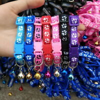 Adjustable Pet Teacup Dog Puppy Collar Cat Neck with Bell Paw Printed Collar Lot