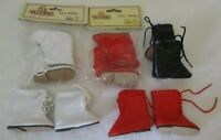 """Tallena's Doll Shoes~5 pairs~Style SMO4, Sole size  2.5"""" ~Red, White&Black boots"""