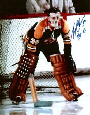 GERRY CHEEVERS AUTOGRAPHED BOSTON BRUINS RARE 8X10 PHOTO W/NO STITCHES MASK