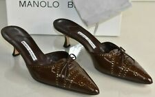 NEW Manolo Blahnik OXFONA Brown Gold Brogue Patent Kitten Heels Mules Shoes 40