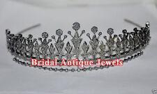 11.60ct ROSE CUT DIAMOND ANTIQUE LOOK WEDDING 925 SILVER HAIR JEWELERY FOR TIARA