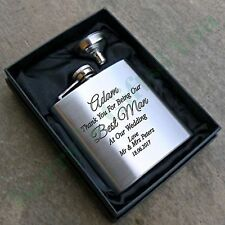 Personalised Engraved 6oz Hip Flask Ideal Wedding Birthday Christmas Gift Boxed