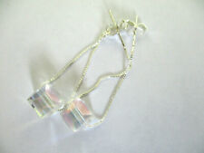 STERLING 925 SILVER CHAIN AB CRYSTAL CUBE DANGLE CHAIN EARRINGS. 8mm