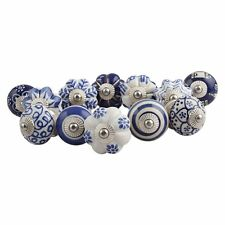20 White and Blue Handpainted Ceramic Door Knobs Kitchen Cupboard Drawer Pulls