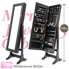 Mirror Jewellery Cabinet 2x Drawer Lowe - Black