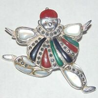 Estate sterling silver Harlequin Pierrot pin brooch, mother of pearl marcasite