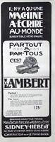 PUBLICITÉ DE PRESSE 1906 LA MACHINE A ÉCRIRE LAMBERT - SIDNEY HÉBERT