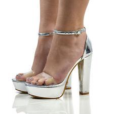 Womens Clear Ankle Strap Platform Ladies Block Heel Sandals Shoes