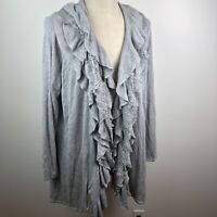 Jamie Gries Womens Cardigan Sweater Gray 2X Open Front Lace Ruffle Lagen Look