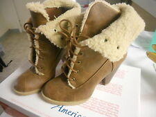 American Eagle fur ankle heel boots brown size 8.5