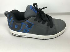 Dc Shoe Co Leather Gray Black Blue Skateboard Youth Shoe Size 6Y 37 Eu