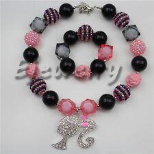 Alloy Barbie Girl Pendant Bowknot chuny Kids Bubblegum necklace&bracelet CB777