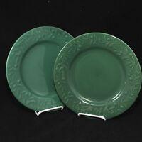 "Holiday Home Dinner Plates Green 10-3/4"" Christmas Set of 2"