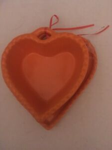Williams Sonoma Heart Shaped Dish/bowl with plate Orange New No Box