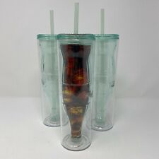 THREE 14oz Coca Cola Green Double Wall Acrylic Tumbler Cup with Lid & Straw
