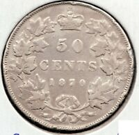 1870 LCW- Canada - 50 Cent Piece - Sterling Silver - Queen Victoria - Superfleas