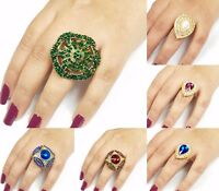 Indian Rings Gold Plated Jewellery Adjustable Finger Ring Colour Diamante Stones