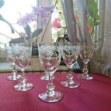 6 verres a vin blanc ou porto cristal de saint louis modèle Massenet gravé signé