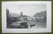GERMANY Saxony Werra River at Munden - 1820s Copper Engraving Cpt BATTY