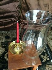 Candle Holder With LARGE CLEAR GLASS HURRICANE OIL LAMP CANDLE CHIMNEY