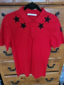 Givenchy Star Embroudered  Cotton-pique Polo Shirt Red Size M