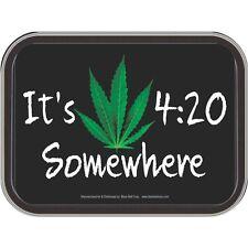 New Rectangle Tin Coin Stash Box Green Marijuana Hemp Leaf 420 Somewhere