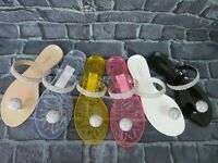 "Jelly Sandal ""MILAN"" Women's Rhinestone Button Thong Flip Flop - Ann More"