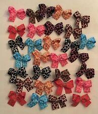 30 SM Cheetah print Dog bows Dog Grooming Bows Quality ribbons Handmade USA NEW