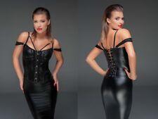 NOIR HANDMADEWETLOOK KORSAGE korsett kunstleder clubwear schwarz corsage spitze
