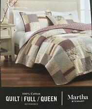 MARTHA STEWART FULL/QUEEN REVERSIBLE DEEP RED QUILT 100% COTTON QUILT