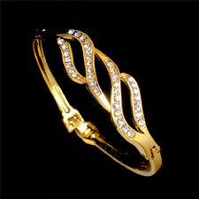 Fashion Women Gold Filled Austrian Crystal Cuff Bangle Bracelet Wholesale