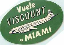 Miami to Havana ~CUBANA AIRLINES / CUBA~ Great Old Luggage Label, c. 1955