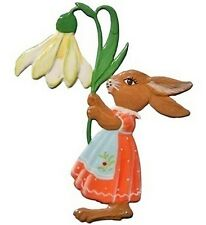 Artist Wilhelm Schweizer German Hanging Ornament Zinn - Easter Bunny with Lily