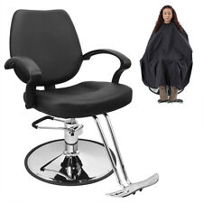 Classic Hydraulic Barber Chair Salon Beauty Spa Hair Styling Black w/Barber Cape