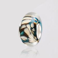 5pcs Silver MURANO GLASS BEAD LAMPWORK fit European Charm Bracelet