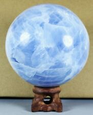 Natural Polished Blue Celestite Crystal Fossil Ball Healing w/Rosewood Stand