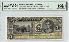 Mexico, Banco de Zacatecas ND (1891-1914) P-S475r PMG Choice UNC 64 EPQ 5 Pesos