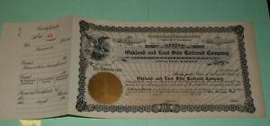 #S44,Vintage Stock Railroad-Oakland & East Side Railroad 1900 Uncirculated