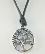 "Tree of Life Carved Pendant an a Black Surfer Necklace Adjustable 16"" to 24"""